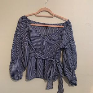 Express Striped Tie Top